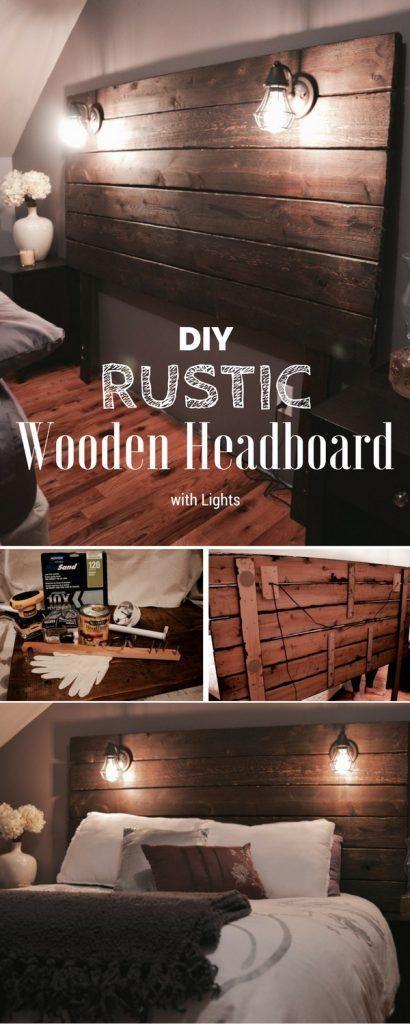 Easy to build DIY Rustic Wooden Headboard with Lights @istandarddesign