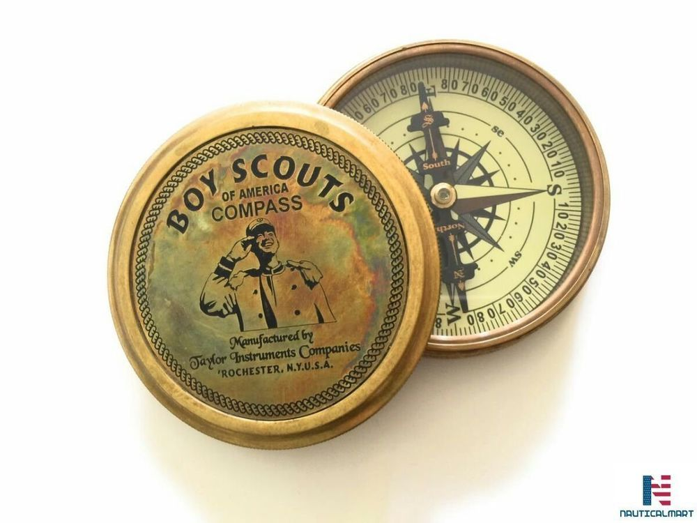 Boys Scout Brass Style Compass Nautical America Compass With Item Gift