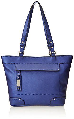 Nine West Hidden Zipper Tote Shoulder Bag Blue Bud One Size