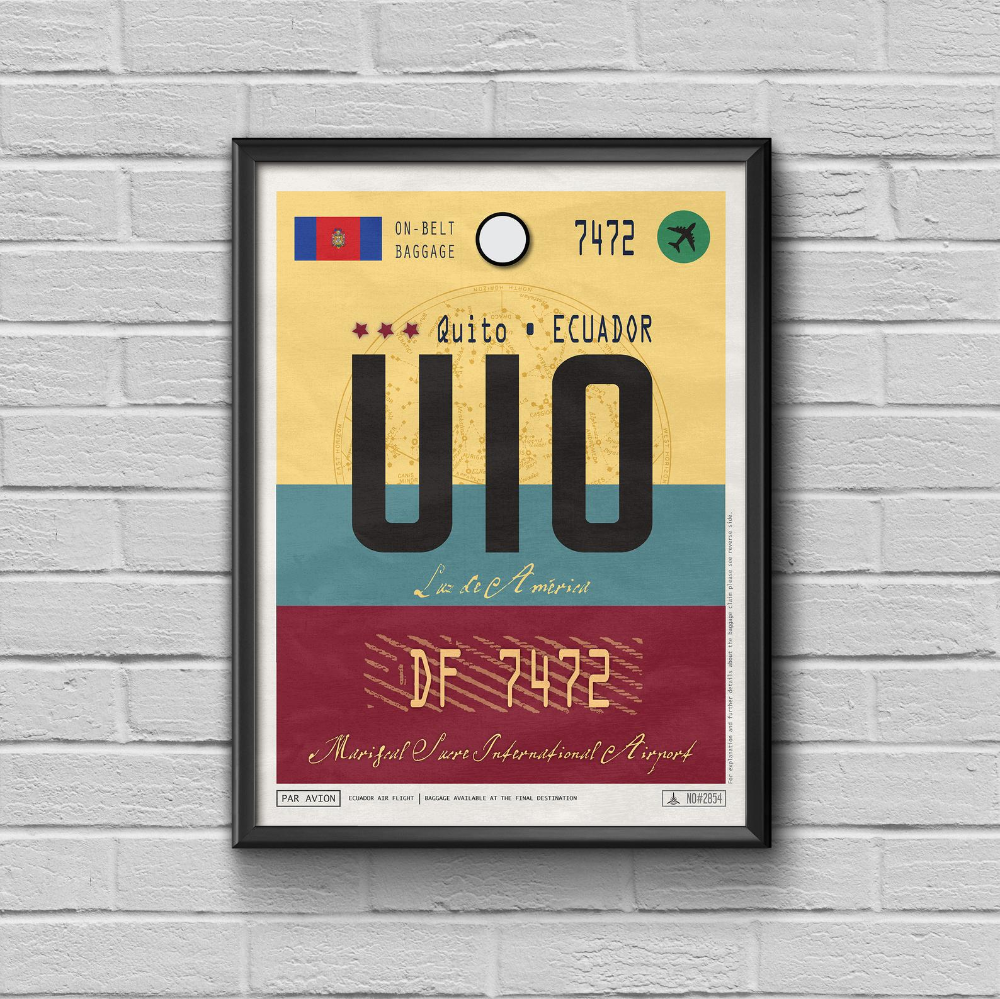 Quito Airport Tag Ecuador Travel Poster Uio Airport Code Ecuador Framed Poster Uio Luggage Tag Ecuador Souvenir Quito Luz De Americas In 2020 Quito Travel Posters Ecuador Travel