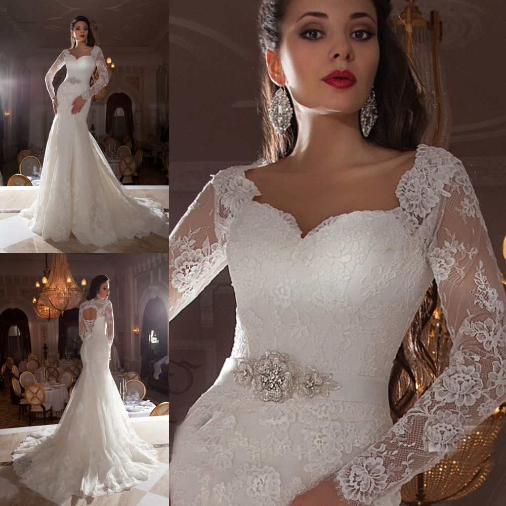Discount Simple Elegant Open Back Long Sleeve Wedding: Vestido-de-Casamento-2015-Vintage-Lace-Bridal-Dresses-Long