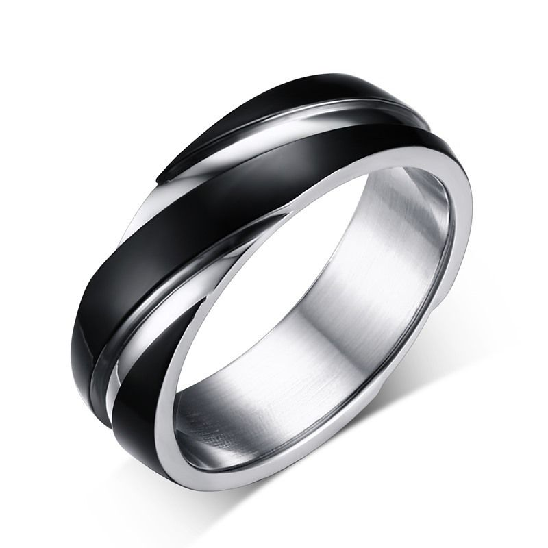 Jewelry Stores Network Mens Stainless Steel Polished with Black Carbon Fiber Inlay 8mm Wedding Band Ring