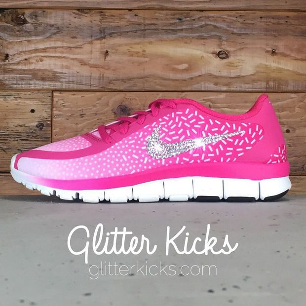 Women s Nike Free 5.0 V4 Print Running Shoes By Glitter Kicks - Customized  With Swarovski Crystal Rhinestones - Bright Pink White 085f677fd