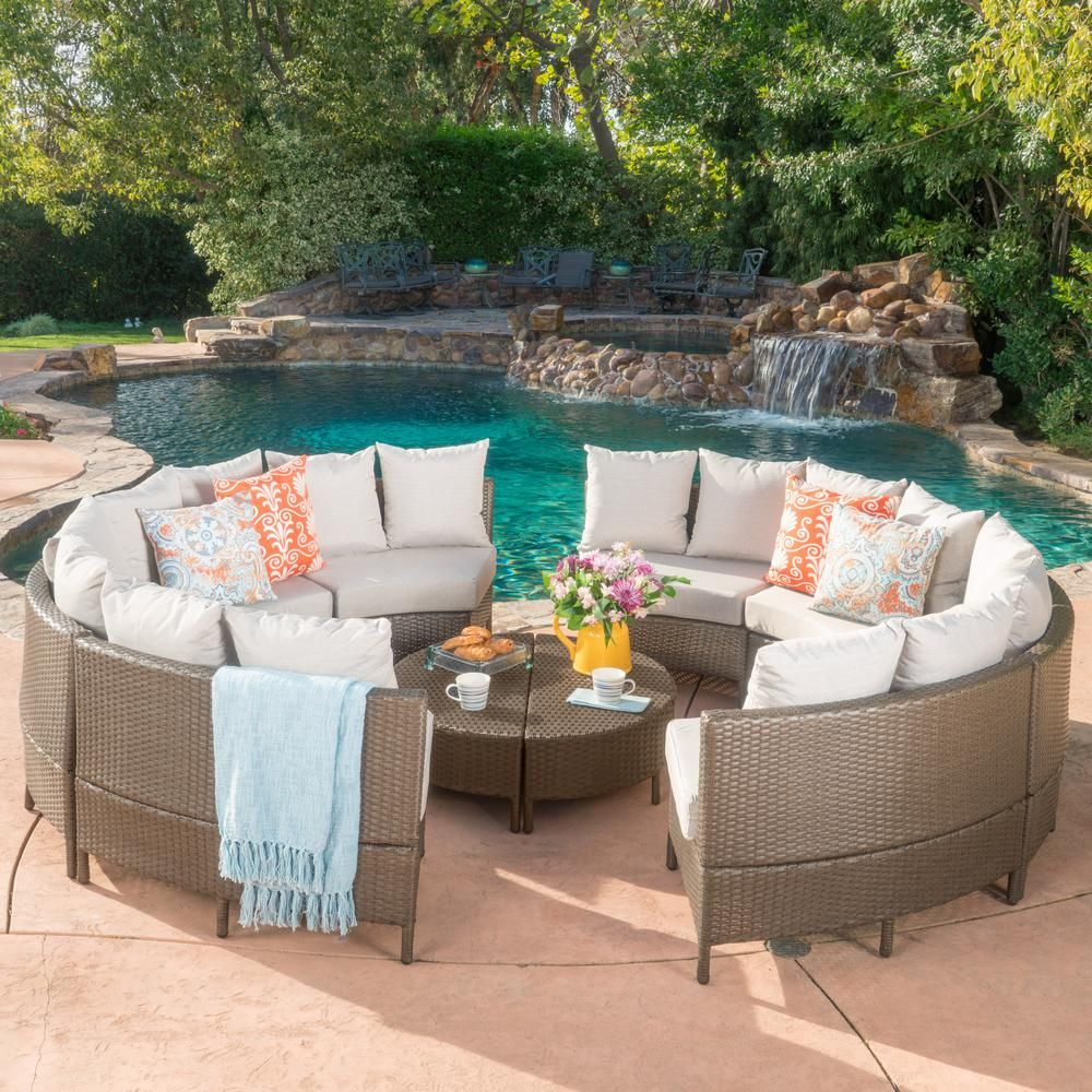 Noble House 10 Piece Wicker Patio Sectional Seating Set With Ceramic Gray Cushions Sofa Set Outdoor Patio Seating