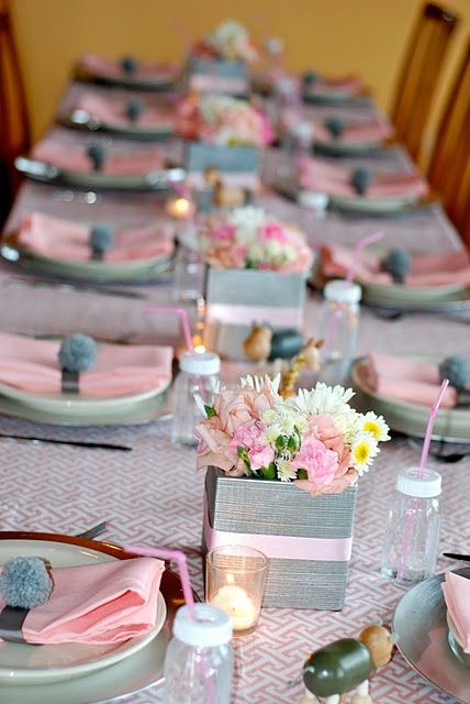 pink and grey table setting wedding baby shower decorations rh pinterest com