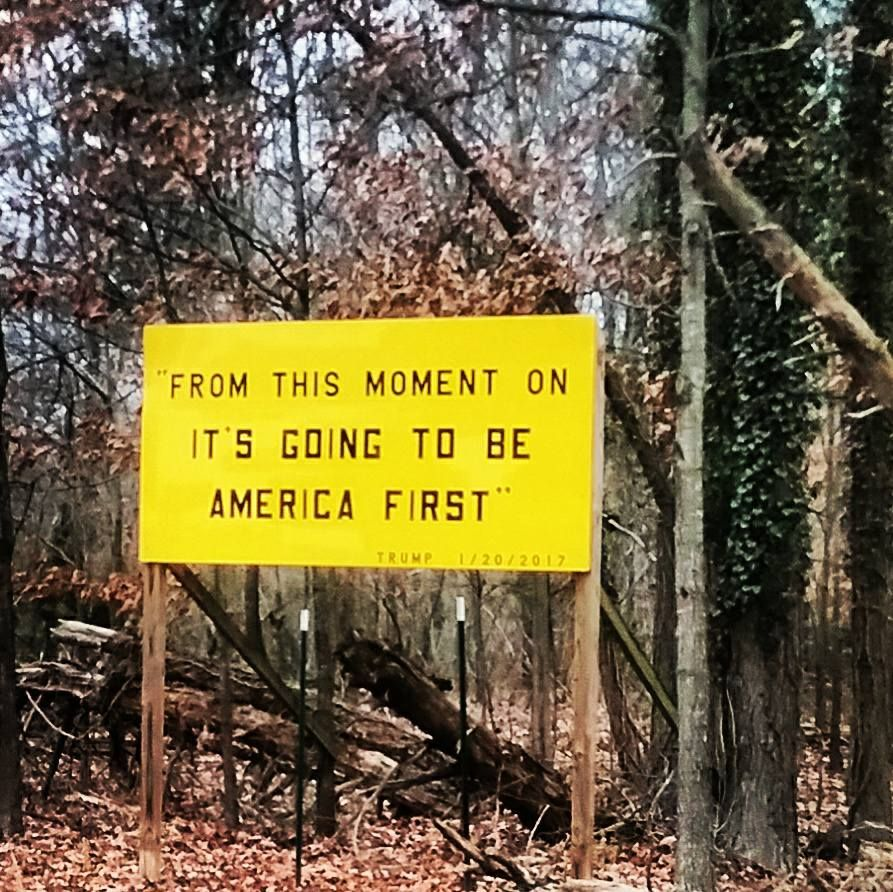 This sign is up on Jefferson Davis highway in my friend's hometown in Virginia.