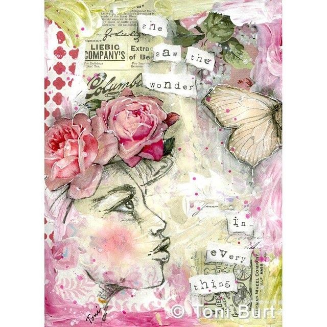 """She's done! """"she saw the wonder in every thing"""" #art #artjournal #mixedmediaart #mixedmedia #mixedmediaartjournal #artjournalgirl #mixedmediagirl #toniburt #wonder #oldroses #shabbyflowers #butterfly #vintagepapers"""