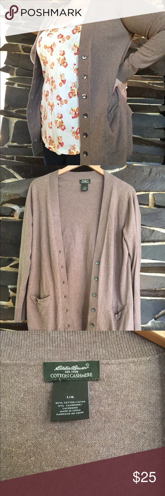 Eddie Bauer cotton cashmere cardigan Brown Eddie Bauer cotton ...