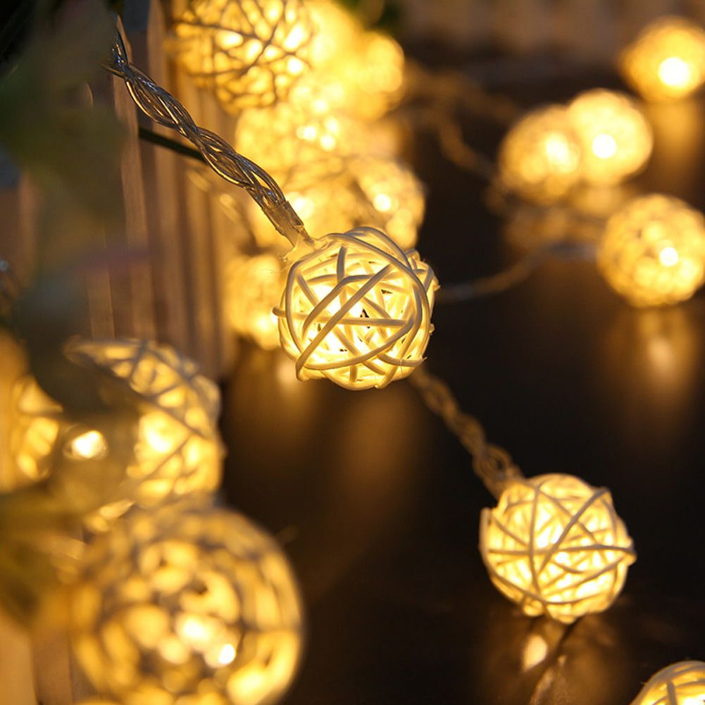 Decorative Rattan Balls 5M 20Led Warm White Rattan Ball Wicker String Lights Fairy Lamp