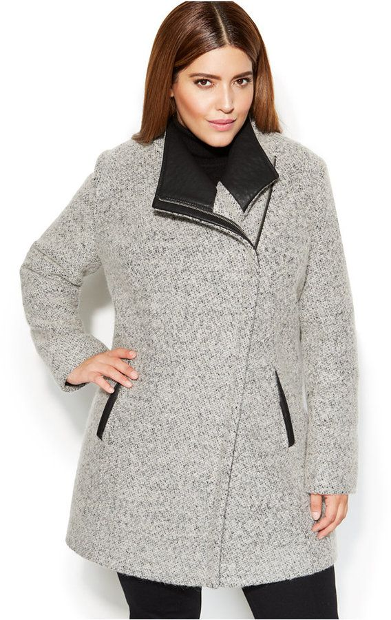 5d4e2a99039 Calvin Klein Plus Size Asymmetrical Faux-Leather-Trim Wool-Blend Coat
