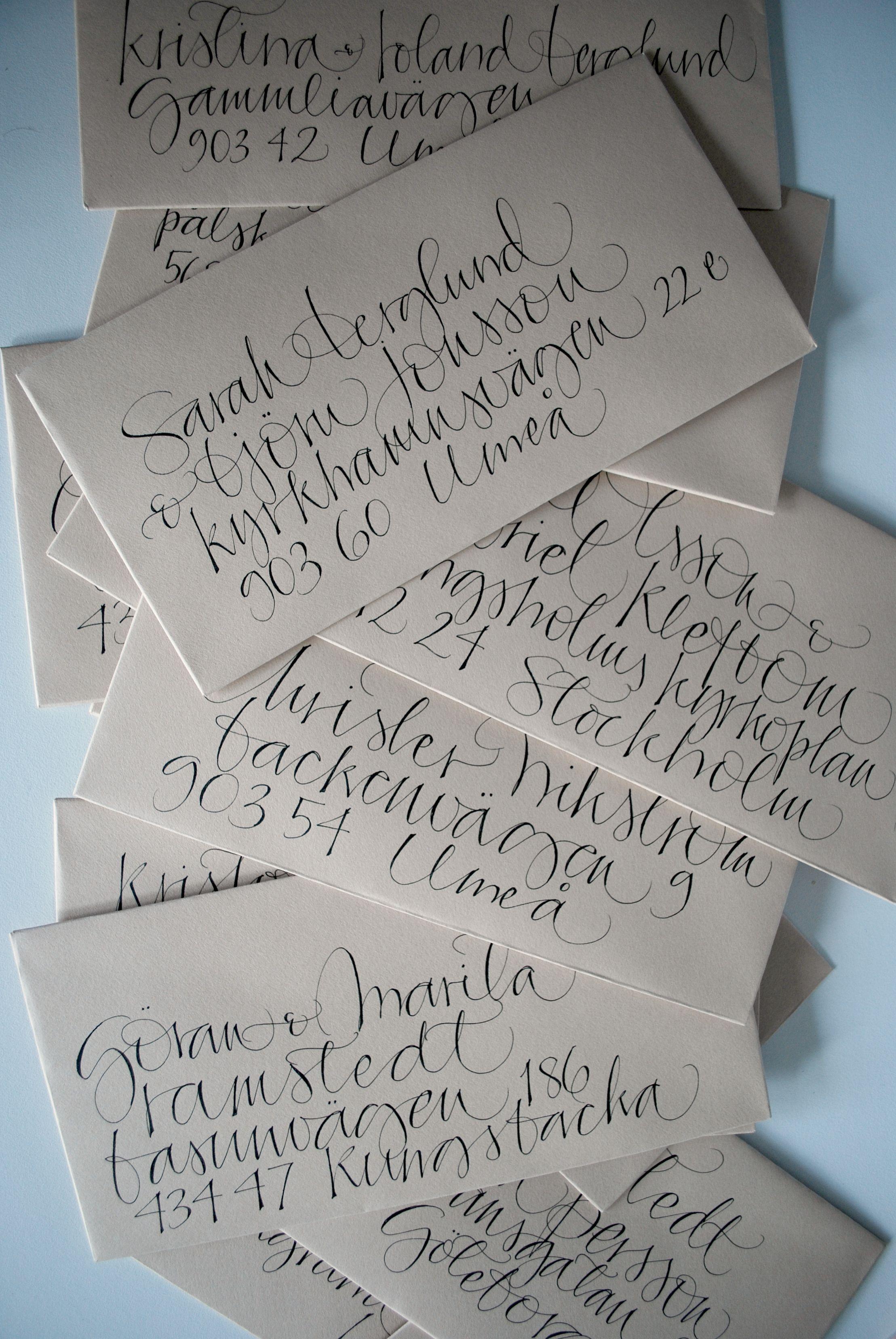 Envelopes for wedding invitations. Calligraphy by Ylva