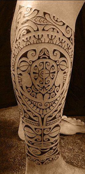 Modele Tatouage Mollet Tahitien Polynesien Tortue Salamandre Tiki