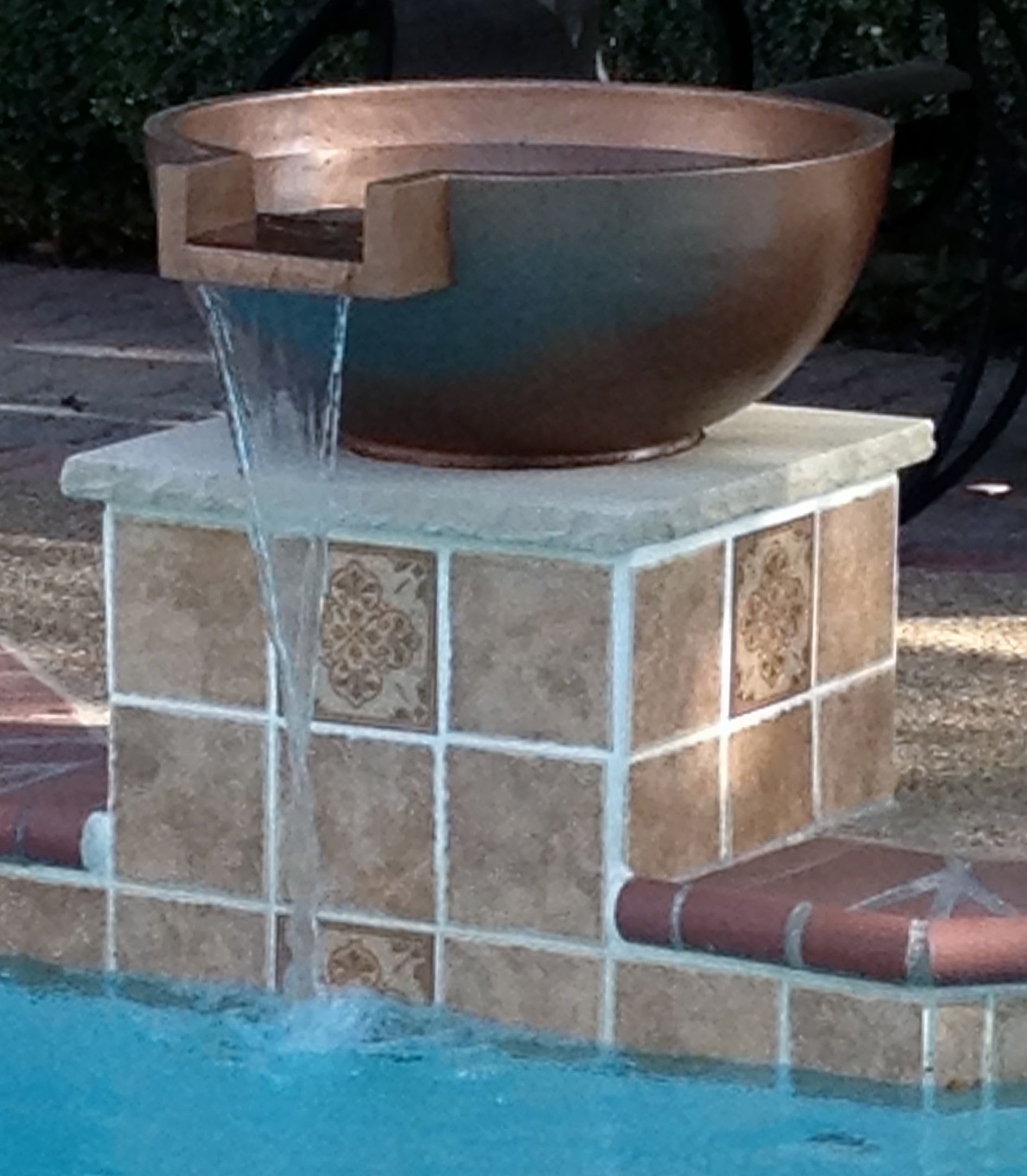 our new pool water feature - copper bowl fountain on a ...