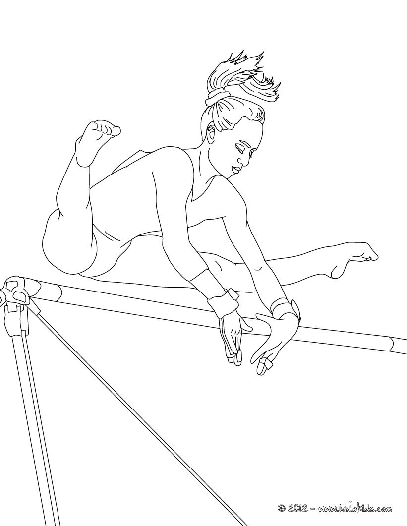 Uneven Bars Artistic Gymnastics Coloring Page Sports Coloring Pages