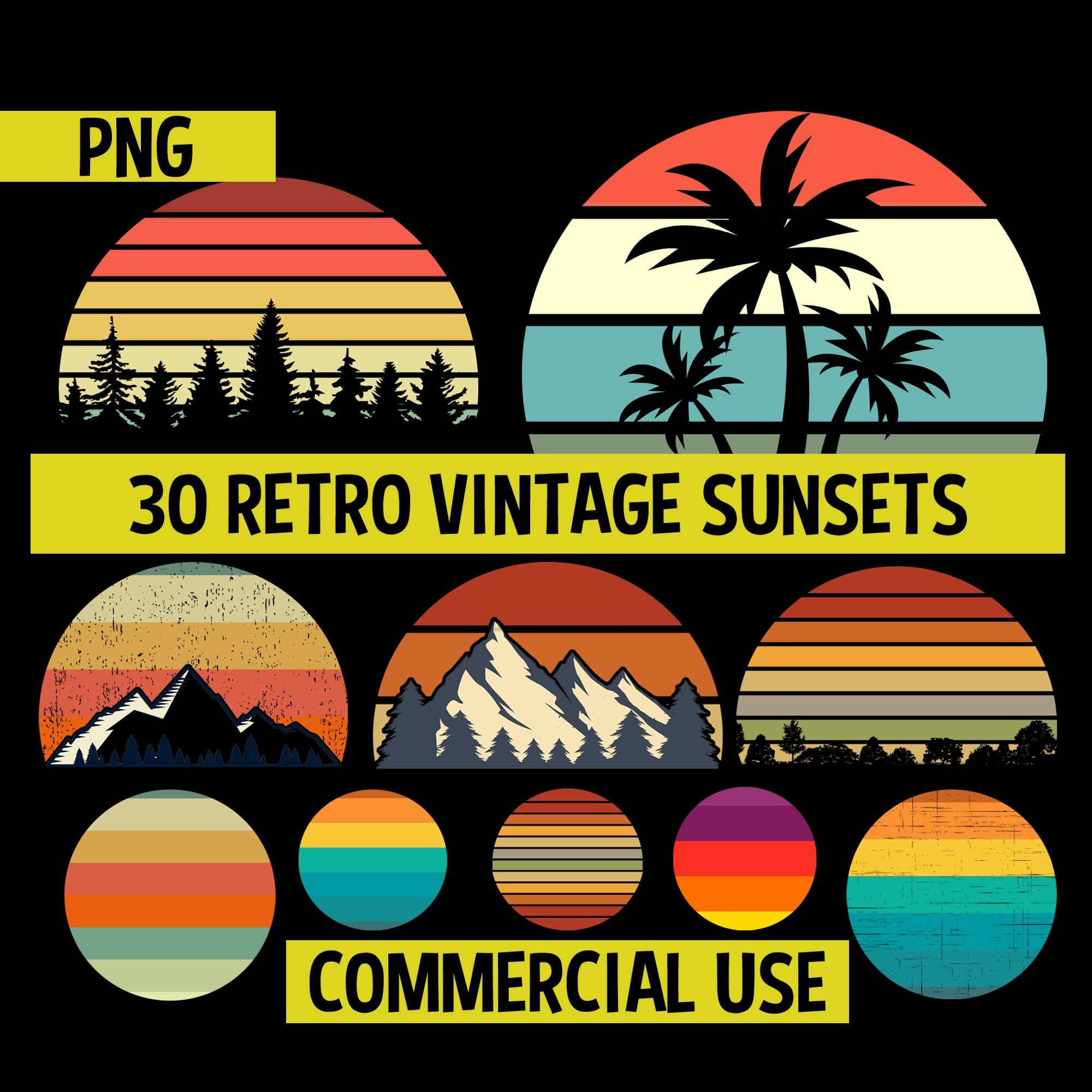 Retro Vintage Sunsets Pack 1 30 Retro Sunset Clipart Png Digital Download Mountains Trees Summer Beach Commercial License In 2020 Retro Vintage Retro Clip Art