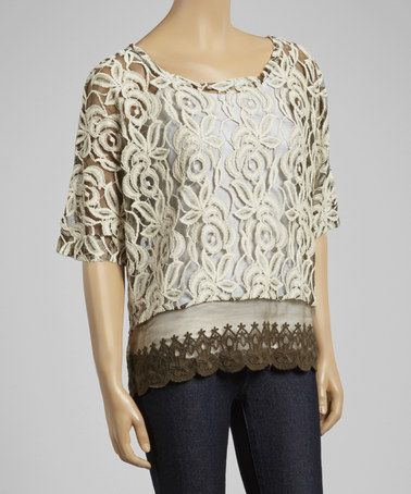 This Cream Roses Sheer Lace Top by Lady Noiz is perfect! #zulilyfinds