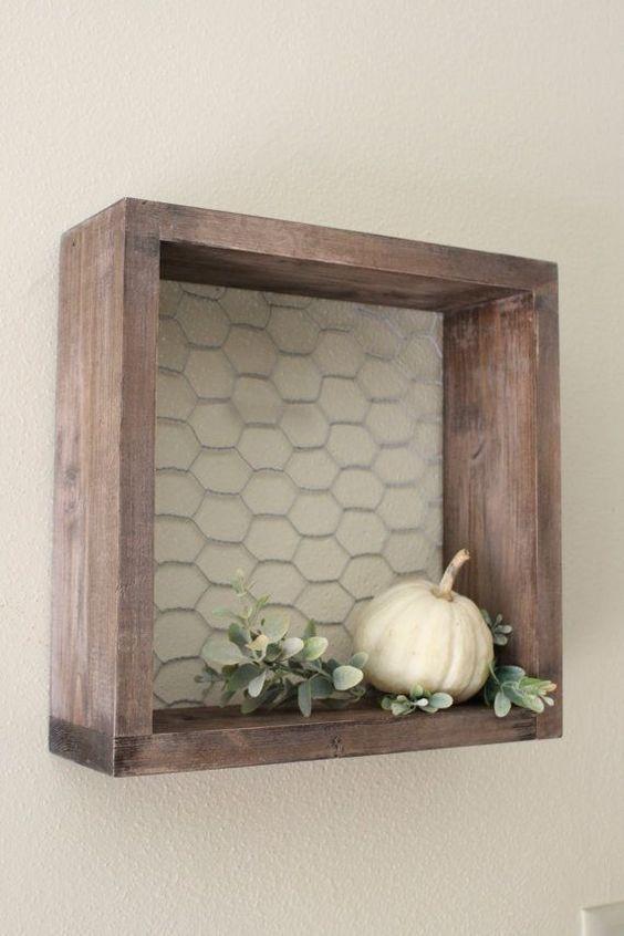 Chicken wire wood shelf farmhouse decor farmhouse for Small wood ideas
