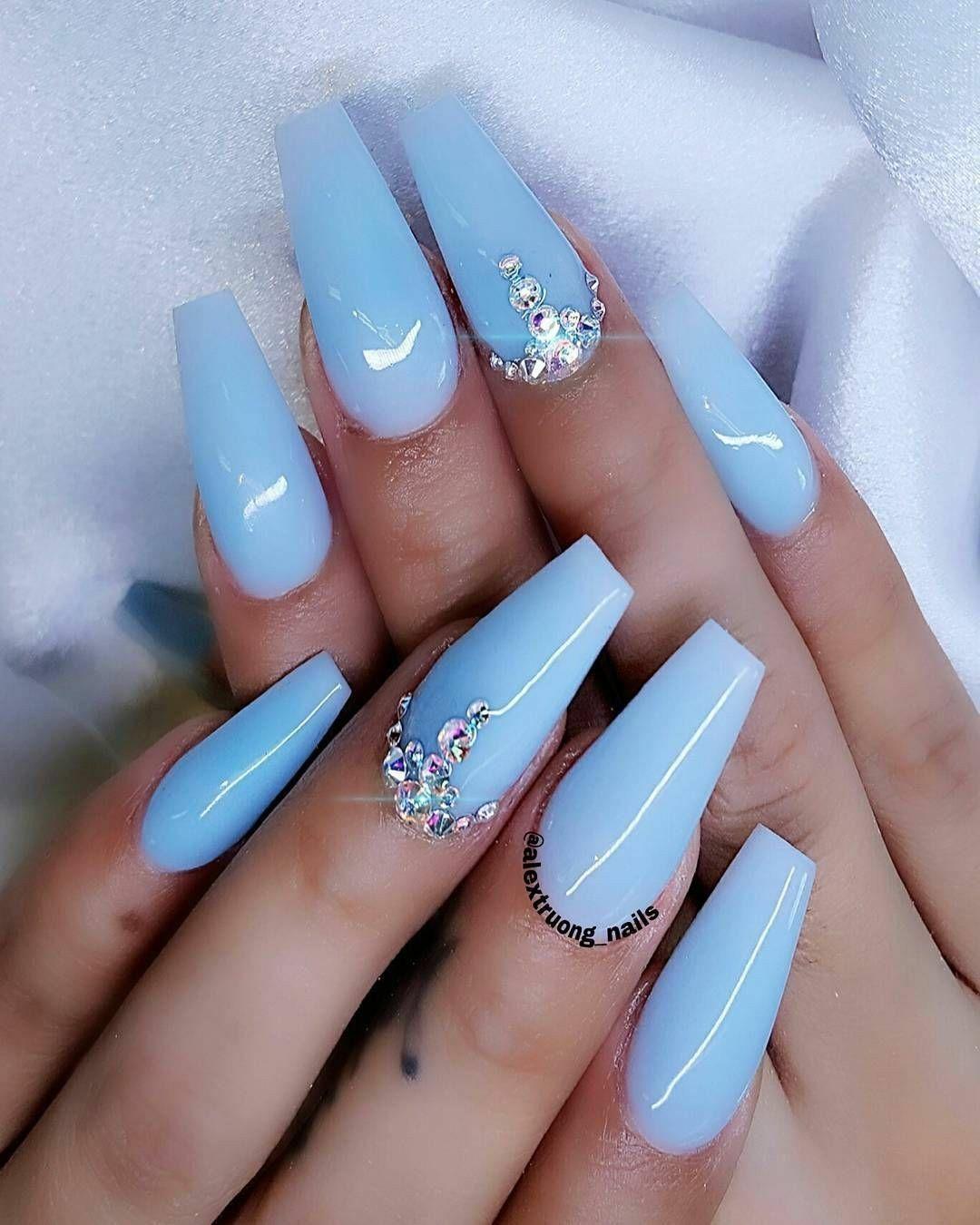 Ballerina Nails Spring Nails Baby Blue Nails Nails With Rhinestones Acrylic Nails Blue Gel Nails Blue Coffin Nails Blue Acrylic Nails