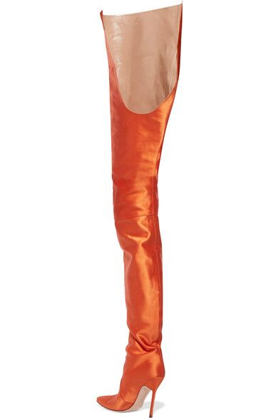 c7c0aa4cfb5 Vetements - Manolo Blahnik Satin Boots - Bright orange