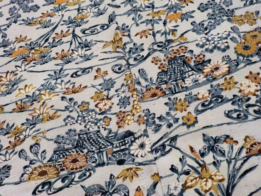 Japanese Vintage Kimono Haori Silk Light Blue Bamboo Grass Flower P101518 | eBay