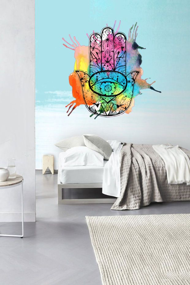 Fulcolor wall decal vinyl sticker decals decor design hamsa hand splash paints indian buddha ganesh lotos modern bedroom dorm office col 7 this would make