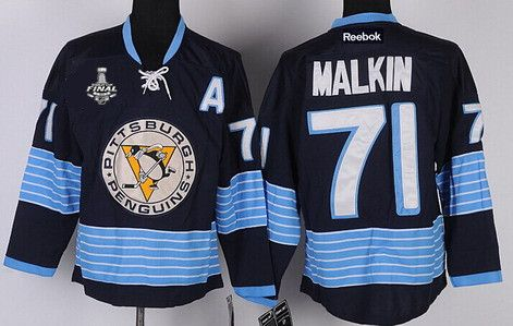 Men's Pittsburgh Penguins #71 Evgeni Malkin Navy Blue Third 2016 Stanley Cup NHL Finals A Patch Jersey