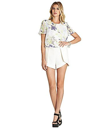 BCBGeneration Digi Bloom Overlap Short 2Fer Romper #Dillards