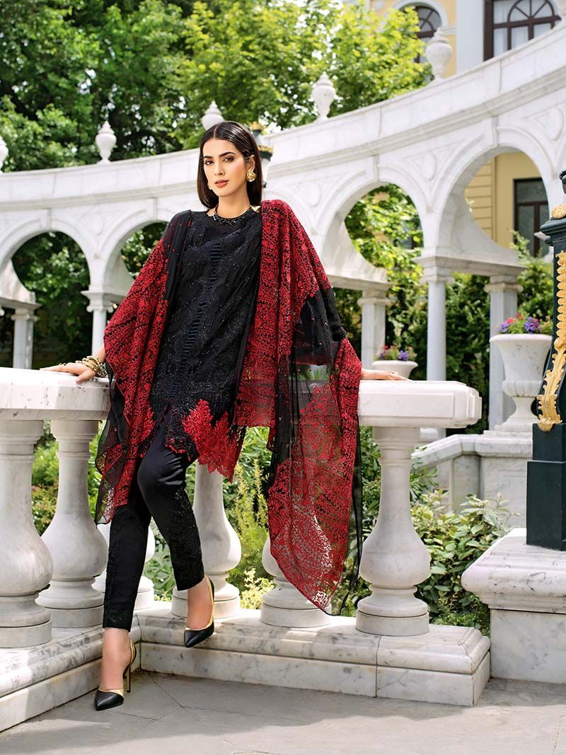 Blend red and black Pakistani dress available for sale by