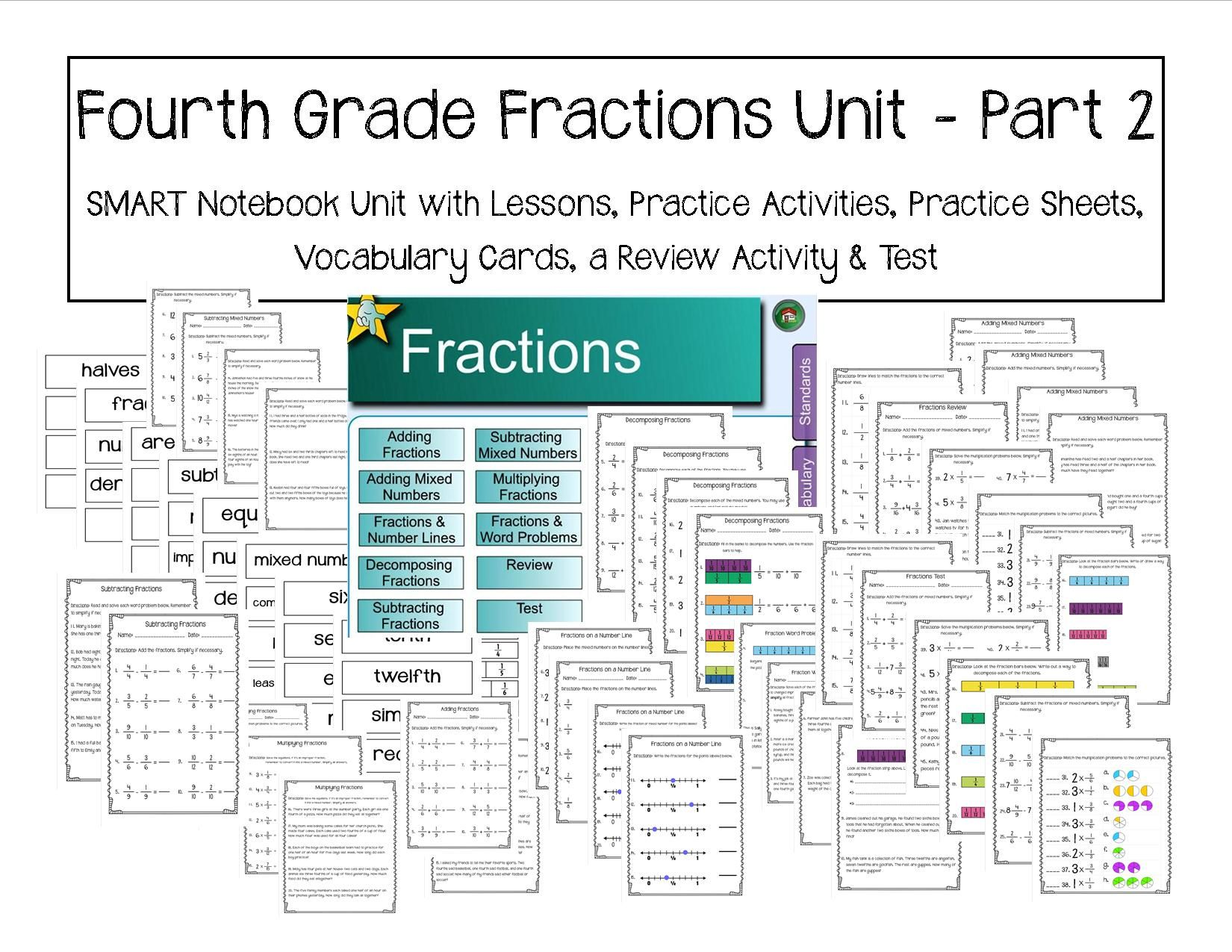 Fourth Grade Fractions Unit - Part 2 | Worksheets, Math and Math ...