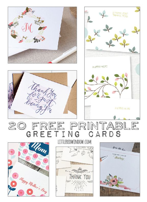20 Free Printable Greeting Cards Little Red Window Printable Greeting Cards Free Printable Greeting Cards Printable Cards