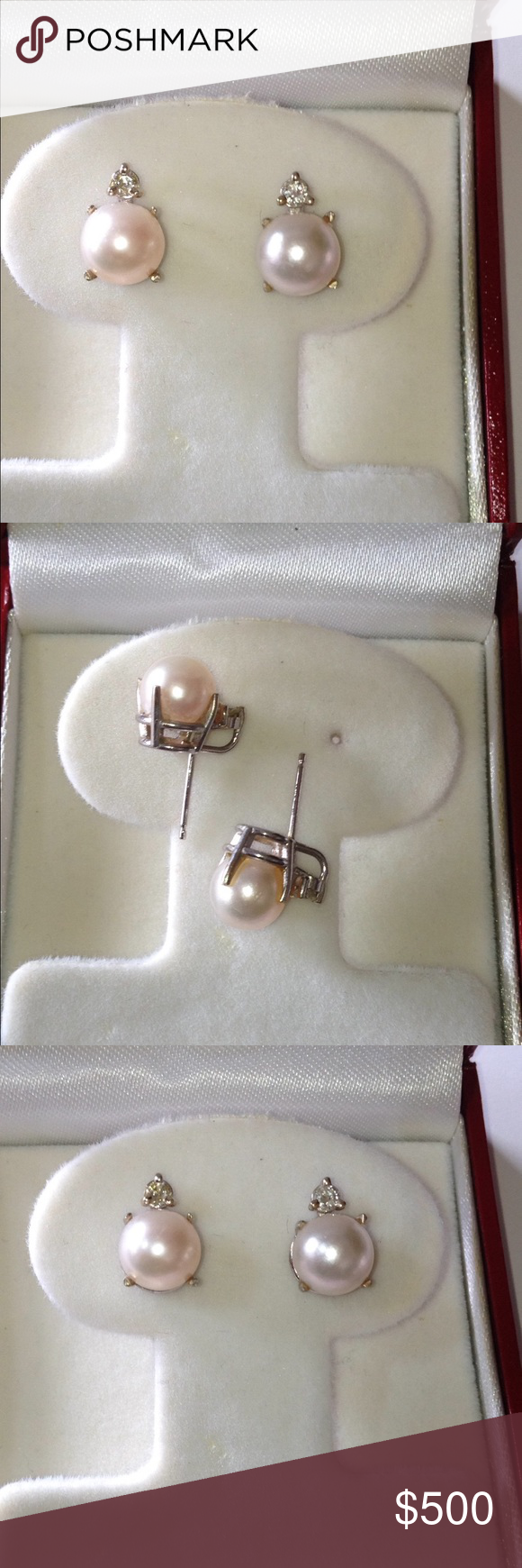 Vintage 14K White Gold 8mm Pearl Diamond Earrings Beautiful vintage stud Pearl and Diamond earrings. 14K stamped White Gold. Weigh 2.0 DWT. Include 2 Cultured Pearls, each measuring about 8mm. Pearls have a medium luster. 2 round brilliant cut genuine Diamonds, total .10 carat weight, H color, SI1 clarity. Each earring had a round Pearl set in 4 prong setting with a 3 prong set Diamond at the top.  No backings. Normal wear commensurate with age. Perfect wedding, formal, birthstone earrings…