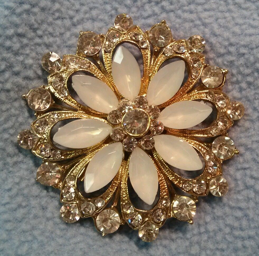 Vintage Flower Brooch~ Moonglow and Rhinestone, Gorgeous! #Unbranded