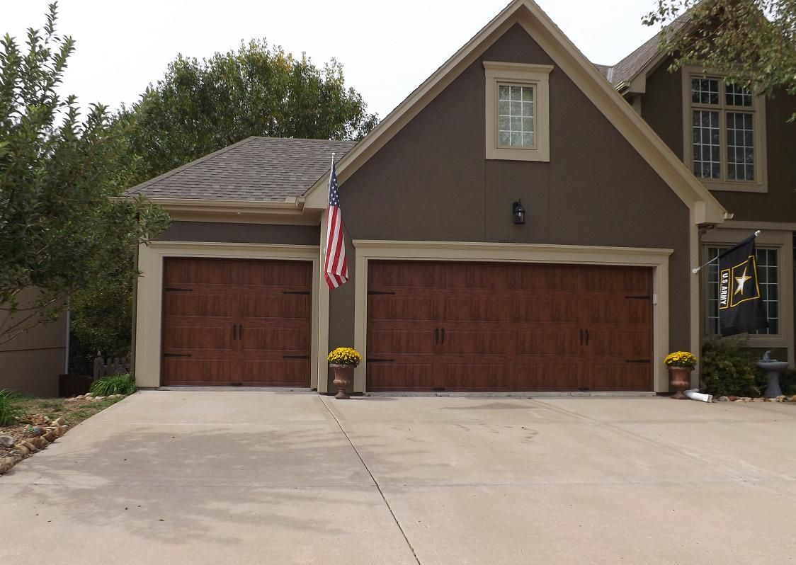 Clopay gallery garage door ultra grain dark oak wrought iron arched windows parkville mo - Wood exterior paint collection ...