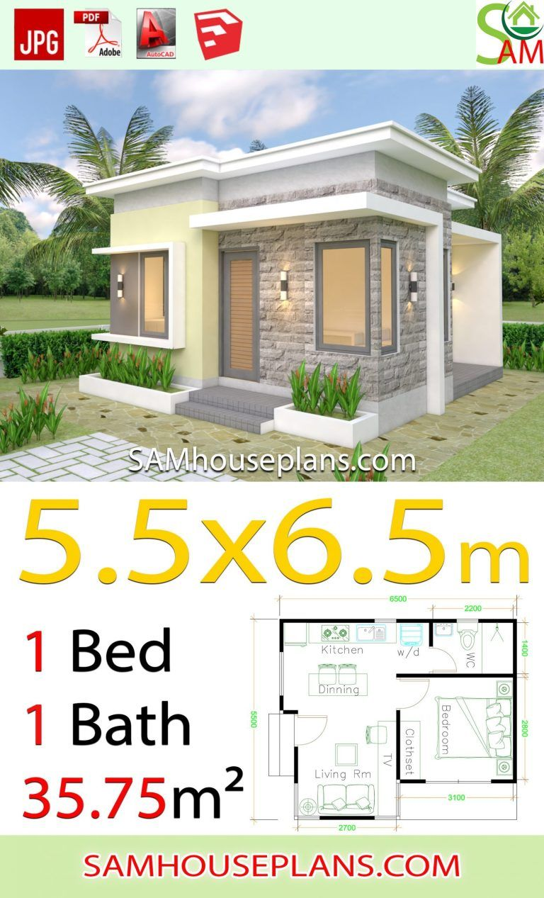 House Design Plans 5 5x6 5 With One Bedroom Flat Roof 2020