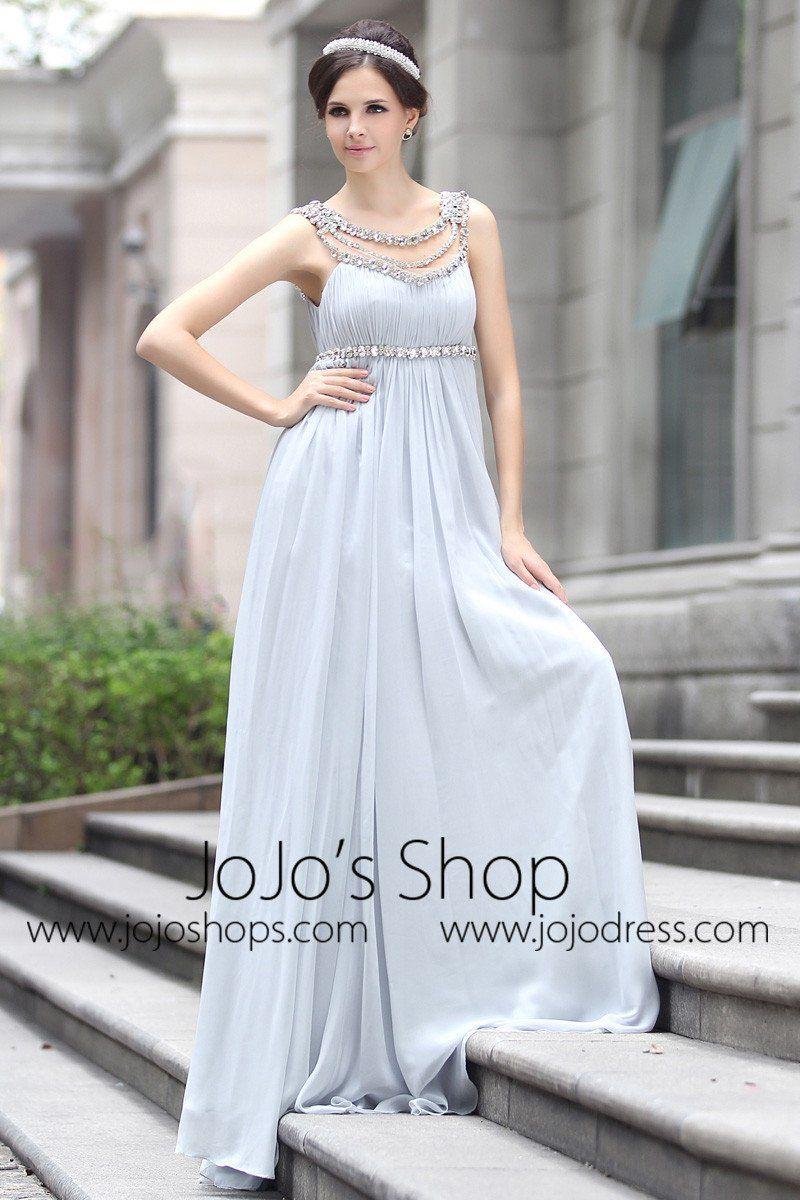 127cb5f760e5 Grecian Goddess Empire Waist Gray Formal Prom Evening Dress in 2019 ...