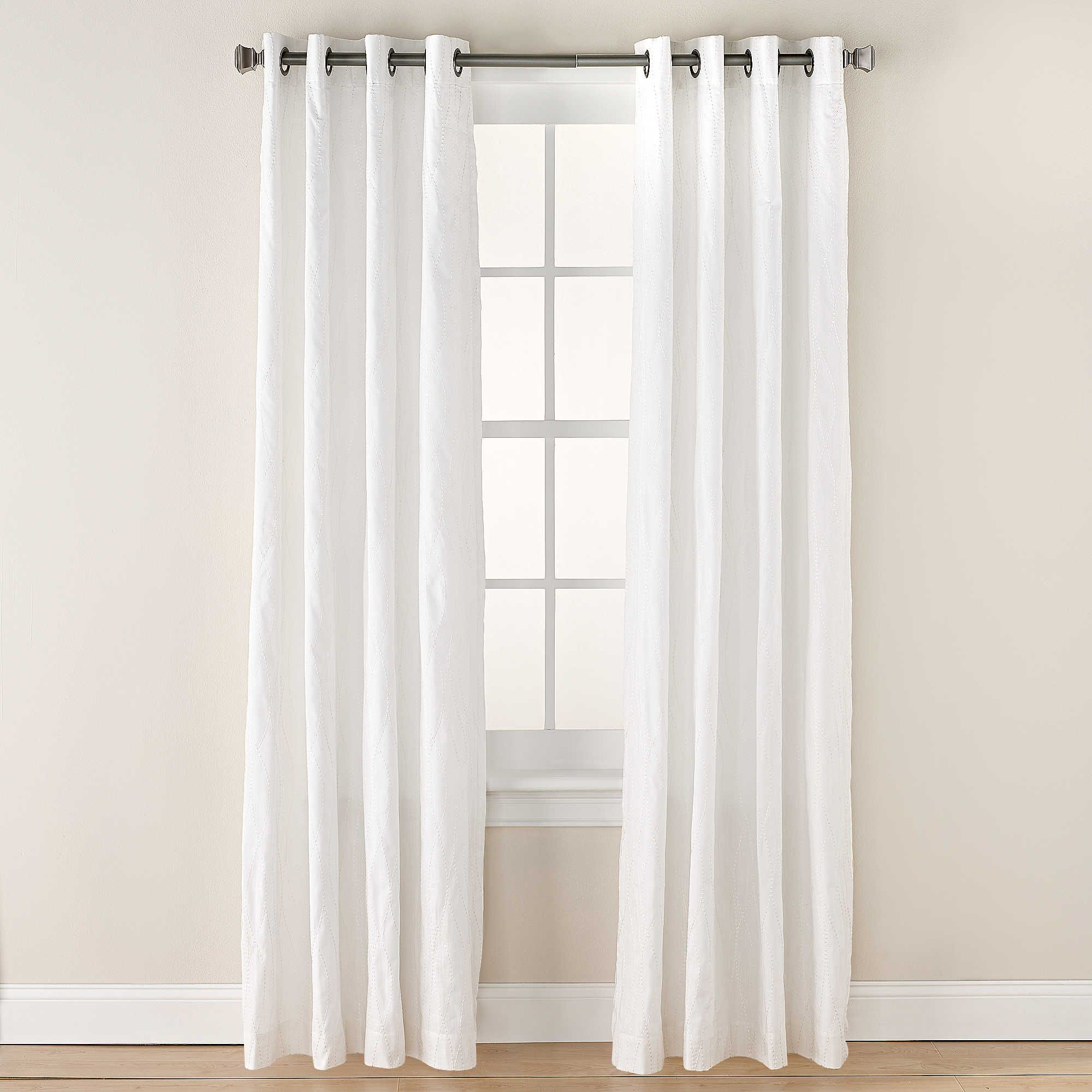Tangent 84 Inch Grommet Top Window Curtain Panel In White White Paneling Curtains Panel Curtains