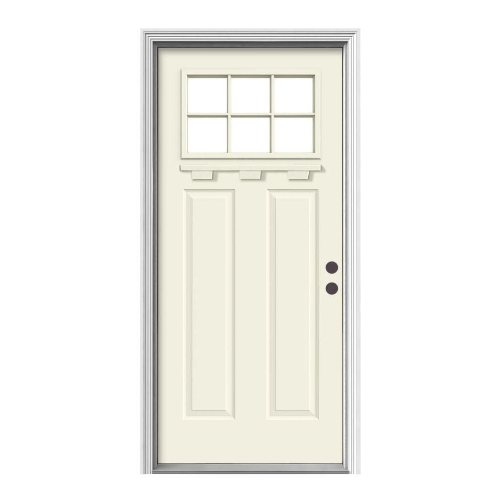Jeld Wen 36 In X 80 In 6 Lite Craftsman White Painted Steel