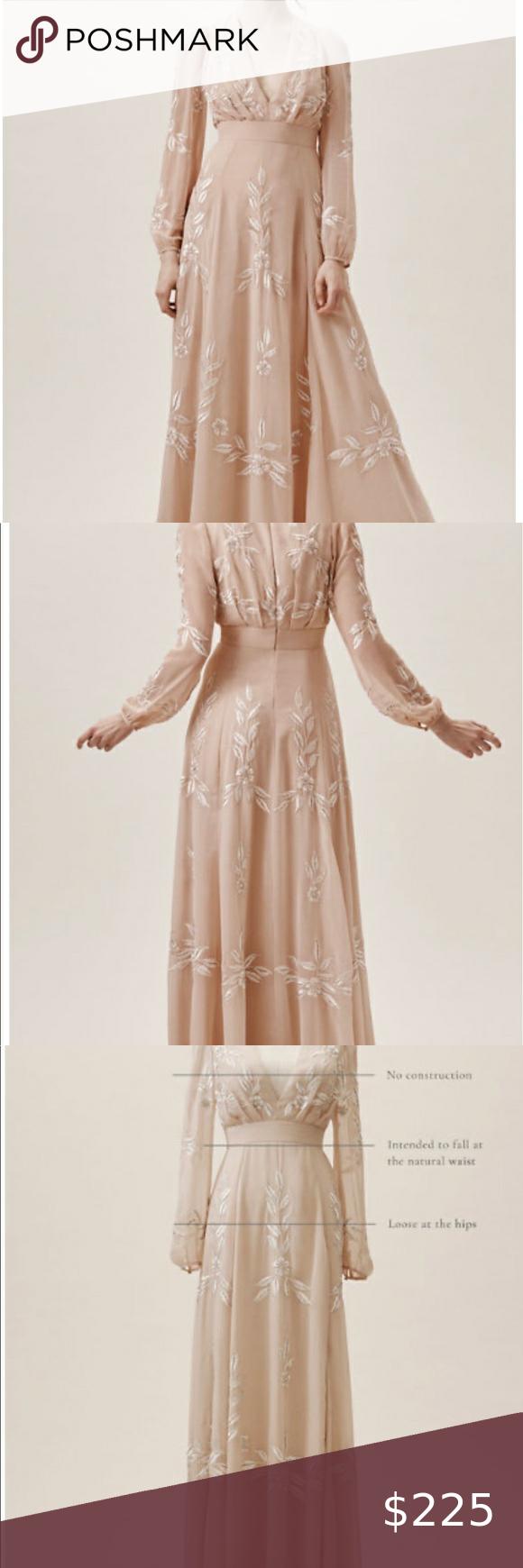 Photo of Anthropologie x BHLDN Belize dress in blush Beautiful BHLDN Belize Gown. Worn fo…