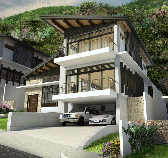 Modern Multi-Storey House Plan With Four Bedrooms And