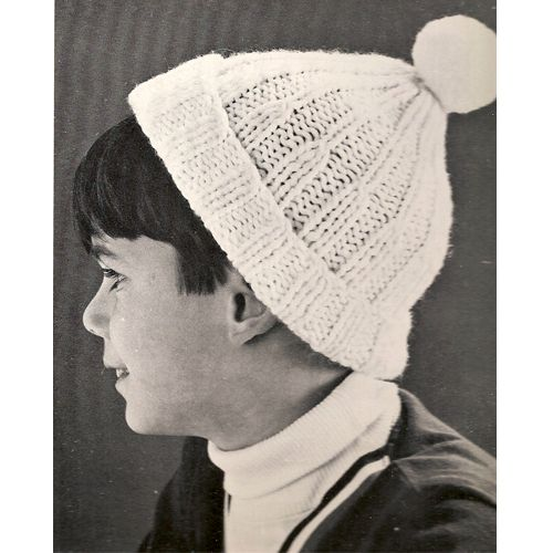 Childs Beanie Hat Knitting Pattern Ribbed With Pompom Top Free