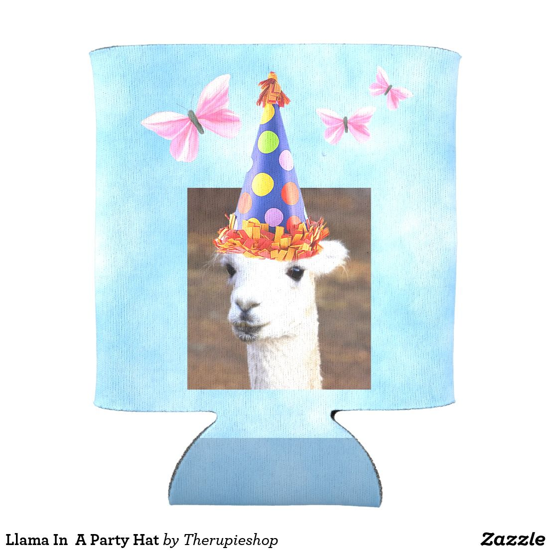 Llama In A Party Hat Can Cooler Party hats