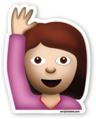 Happy Person Raising One Hand Emojistickers Com Emoji Hand Emoji Emoji Stickers