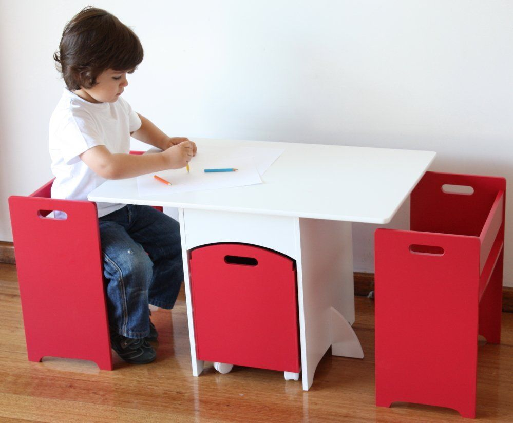 Excellent Aston Red Kids Table Chairs Set W Toy Storage Kids Interior Design Ideas Philsoteloinfo
