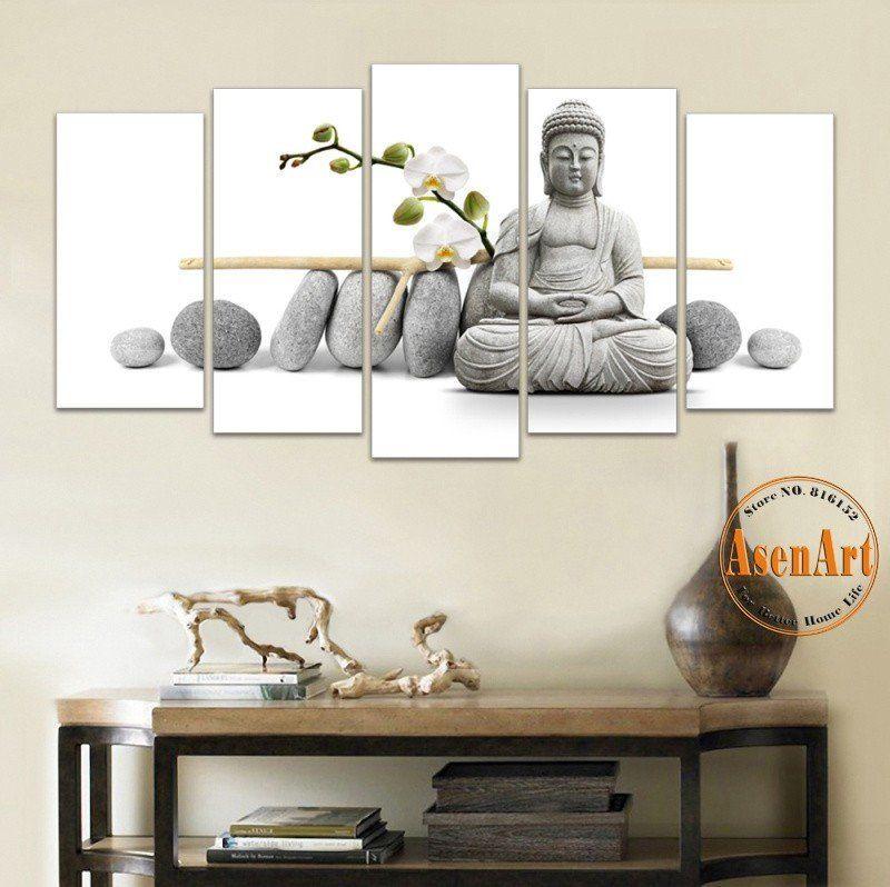 5 Panel Painting Flower Stone Buddha Wall Art Canvas Print Modern Artwork For Living Room Home