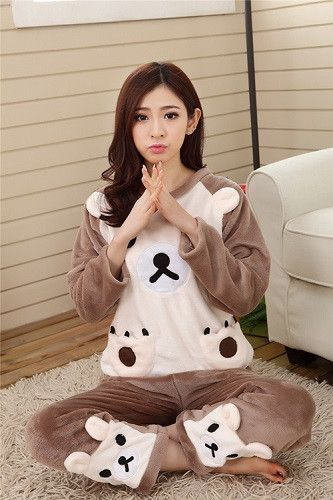 Autumn and Winter Women Pyjamas Sets Thick Warm Coral Velvet Suit Flannel  Long Sleeve Female Cartoon 15777a8e6