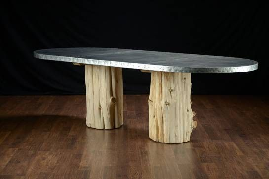 Oval Zinc Top Dining Table With Unusual Double Cedar Trunk Base Artisan Zinc Top Waxed Finished With Nail Head Dec Zinc Table Unique Dining Tables Dining Table