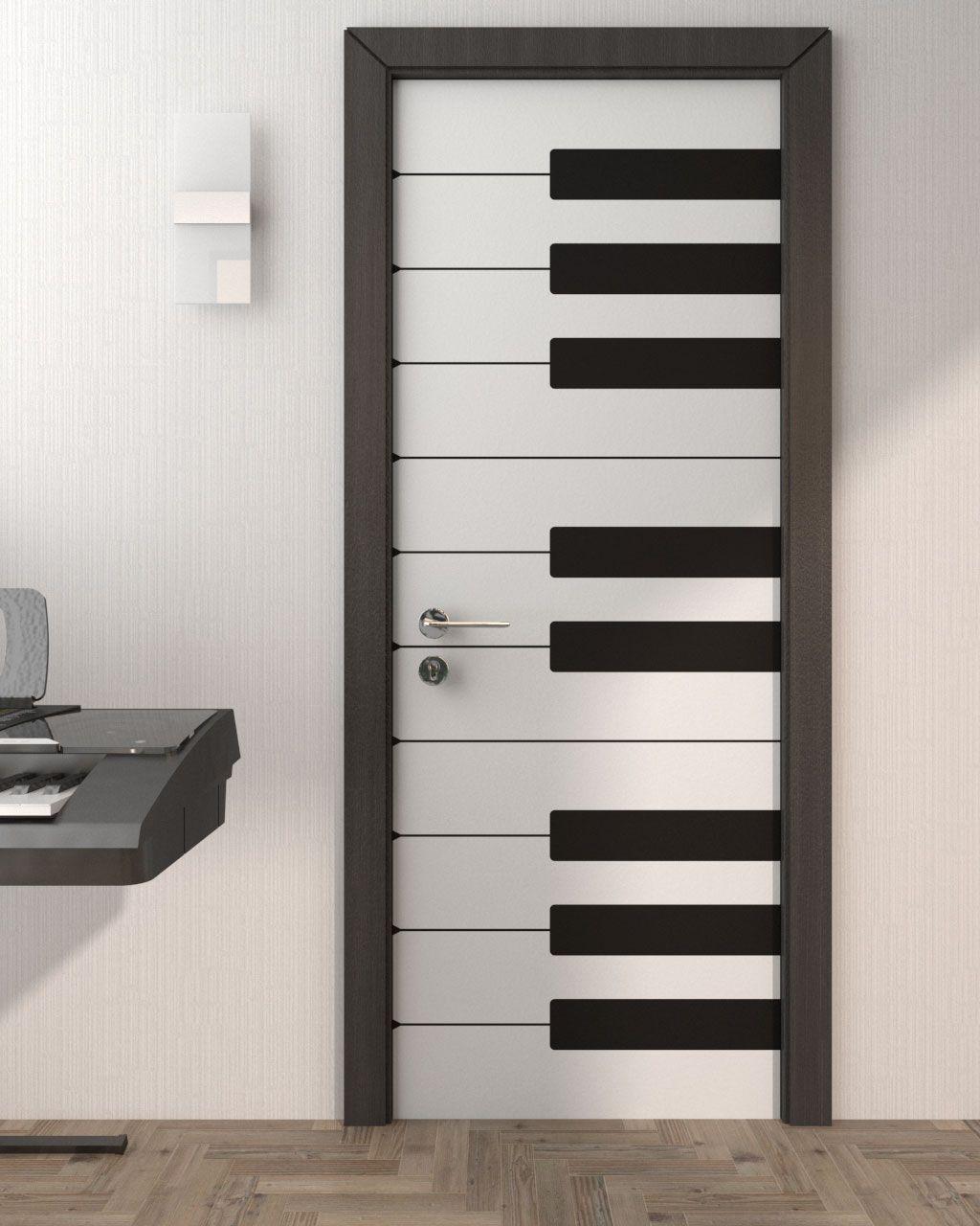 Piano Style Door using Custom Door Stickers  Room door design