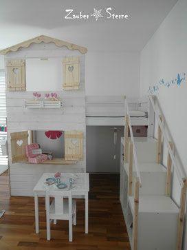 Kinderbett spielhaus  Hochbetthaus selber machen, DIY Bett, Kinderbett selber machen ...