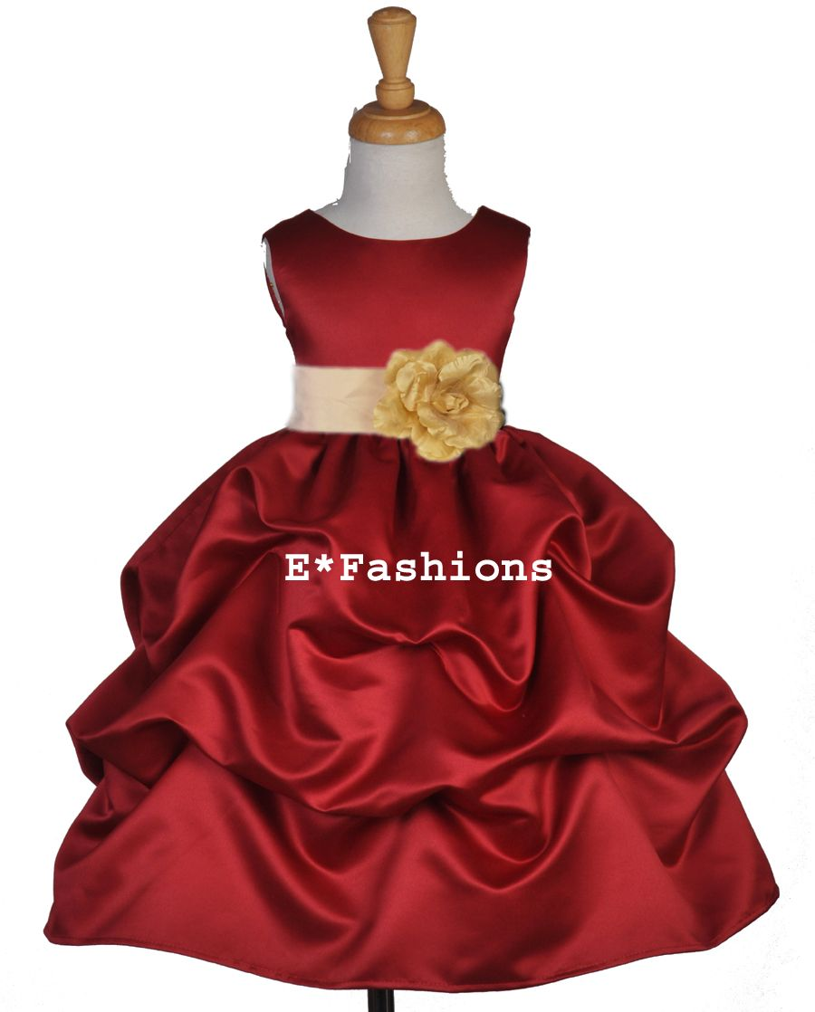 f99f0c6dc9d Apple red champagne wedding bridal flower girl dress 6-9m 12-18m 2 4 ...