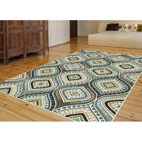8 X 10 Large Aqua Blue Brown And Gold Area Rug Capri With Images Modern Area Rugs Contemporary Area Rugs Geometric Rug
